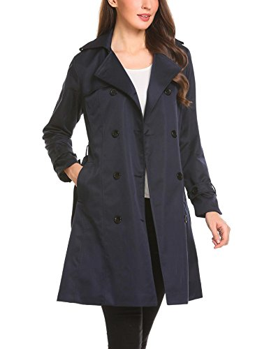 Bulges Women Turn Down Collar Double Breasted Casual A-Line Blue Trench Coat With Belt - Collar A-line Coat