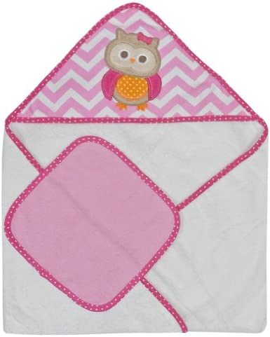 Neat Solutions Single Applique Print Woven Terry Hooded Towel and Washcloth Set, Owl by Neat Solutions