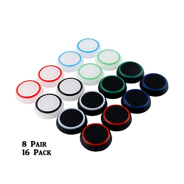 8 Pairs Silicone Thumb Grips Protective Cap Compatible for PS4, PS3, PS2 Xbox One and Switch Pro Controller Joystick 1