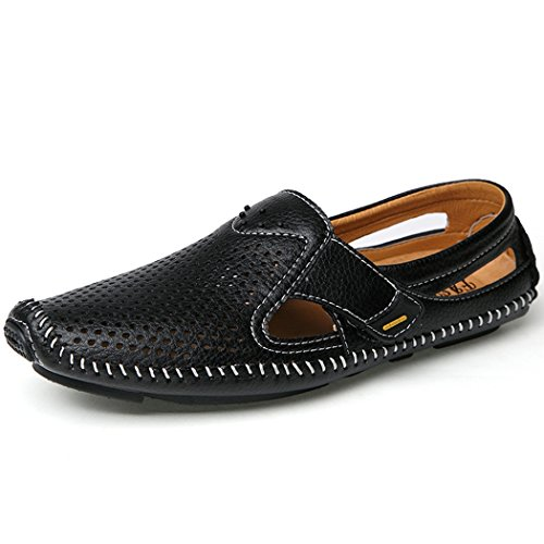 Shoes Leather Breathable Black Loafers Men's Casual Hiking Walking WRzgP7wq