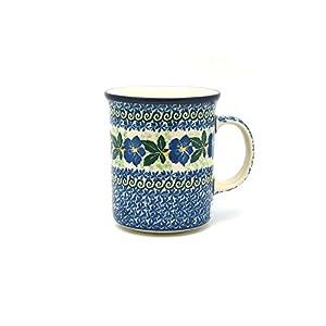 Polish Pottery Mug – Big Straight Sided – Blue Pansy