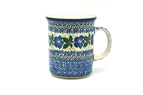 (Polish Pottery Mug - Big Straight Sided - Blue Pansy)