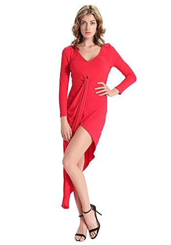 Dooxilady Robe Sexy V-cou En Rouge Robe Fendue Du Côté Irrégulier Des Femmes