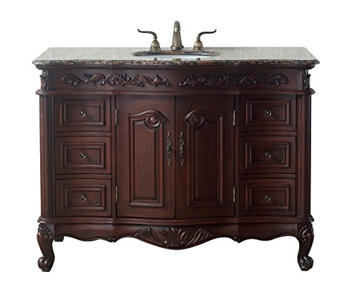 Stufurhome GM-3323-48-BB 48 Inches Saturn Single Sink Vanity with Baltic Brown Granite Top, Dark Cherry