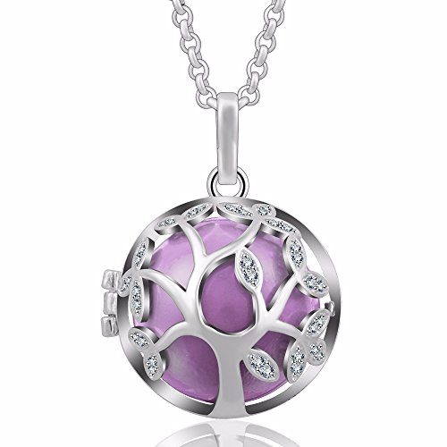 EUDORA Tree of Life 20mm Czech Rhinestuds Harmony Ball Pendant Chime Necklace Baby Shower Gift,30