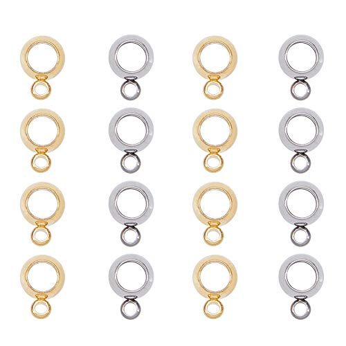 (PandaHall Elite 40 Pcs 304 Stainless Steel Connectors Bails Beads Dangle Hanger Tube Bead with Loop Fit European Charms Pendant Spacer Beads 2)