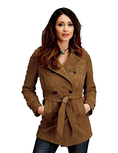 (Stetson Trench Womens Tan Leather Thick Suede Jacket M)