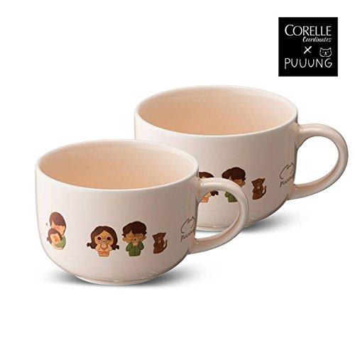 CORELLE Coordinates X PUUUNG HEART Soup Cereal Bowl 2p, 21.6