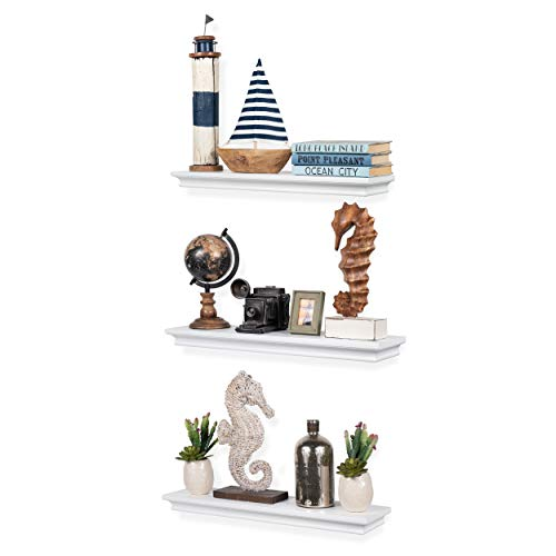 brightmaison Set of 3 Decorative Wall Floating Shelf Mantle for Home and Office Traditional Molding Style for Storage Display Ledge Concealed Mount Bracket (White) ()