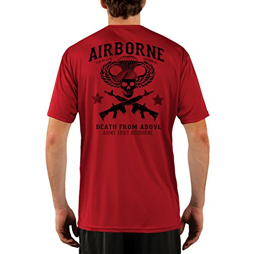 Dead Or Alive Clothing Men's Army 101ST Airborne UPF 50+ Short Sleeve T-Shirt X-Large Mars Red