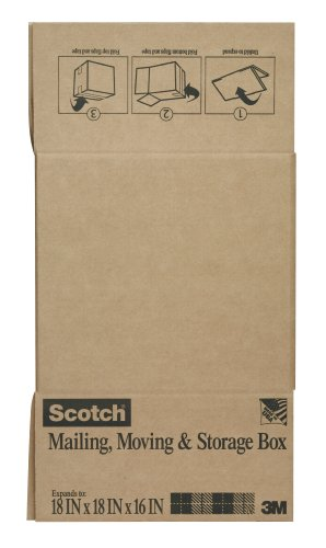 Scotch Folded Box, 18-Inches x 18-Inches x 16-Inches, Large Size Folded Box, 6-Pack