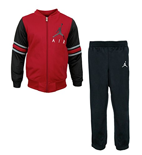NIKE Jordan Boys Two Piece Classic Varsity Jacket & Pants Set - Black, Gym Red (Size 6) (Kids Jordan Clothes)