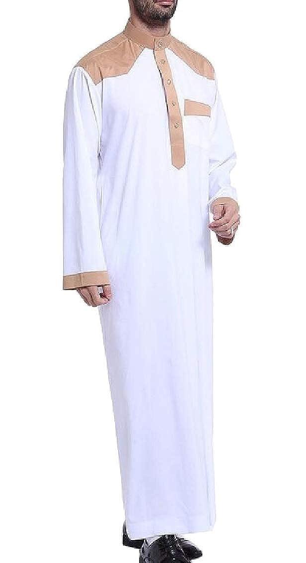 Keaac Mens Stylish Long Sleeve Muslim Stand Collar Arabic Thobe Kaftan Shirt