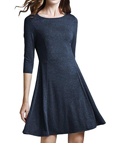Womens Princess Dresses (YiLiQi Women'sClassicA-linedress3/4SleeveKnitFit-and-FlareDressBlue-XL)