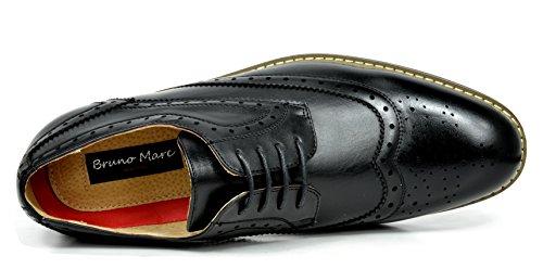 Sueño Pares Bruno Marc Moda Italia Prince Hombres Classic Modern Oxford Wingtip Vestido De Encaje Zapatos Prince-3-negro