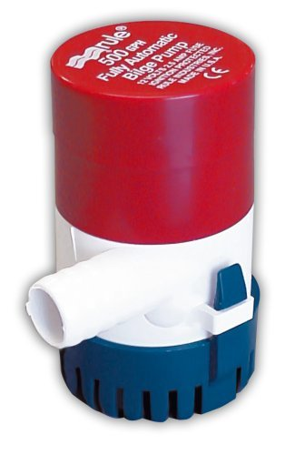 Rule 25S Submersible Bilge Pump, 500 Gallon Per Hour, 12 Volt DC, Automatic Electronic Sensing