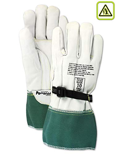 Magid Glove & Safety 12604-10 Magid Power Master Low Voltage Leather Linesman Protector Glove, 13