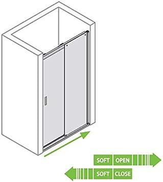Puerta corredera para nicho a medida, puerta corredera de cristal, tipo 8005072, con riel de pared, efecto de aluminio cromado, izquierda: Amazon.es: Bricolaje y herramientas