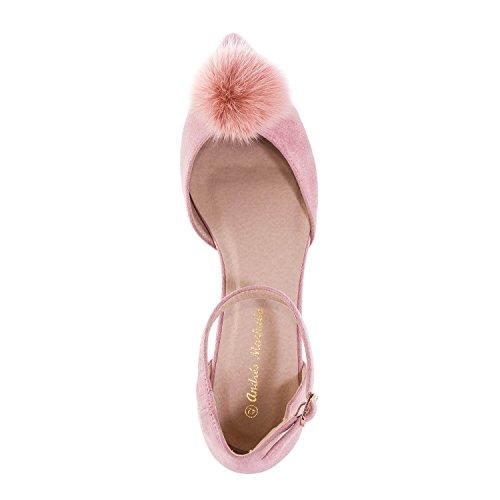 10 Machado ballet 42 a 45 8 de Pom EU Tamaños Pom ante grandes Unido tobillo rosa Andres Reino y corbata de de Gamuza AM5274 5 Pisos a Pqg5HBw