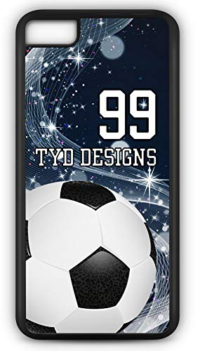 iPhone 8 Plus 8+ Case Create Your Own Soccer Ball Carrier with Player Number and/Or Name Or Team Name Customizable by TYD Designs in Black Plastic (Best Cell Phone Carrier In Denver)