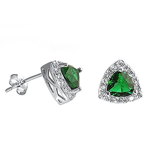 Lailie: 6mm Trillion cut Simulated Green Emerald & IOF CZ Halo Earrings 925 Sterling Silver, 1134