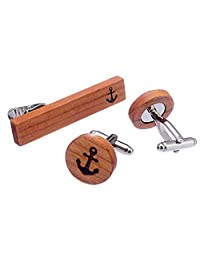 Salutto Men's Natural Wood Cufflink Tie Clip Set Round Cufflinks Tie Bar Set with Gift Box