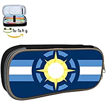 United System of Sol Flag Pencil Case Pen Bag Durable Students Best Choice Stationery With Double Zipper Black