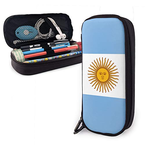 Hs8weyhfffFFF Student Stationery Pen Manager Flag of Argentina Leather Waterproof Stationery Box with Zip Compartment Storage Box