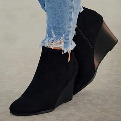 Women's Leopard Wedge Booties, Morecome Suede Side Zipper Boots Comfortable Chelsea Ankle Boots