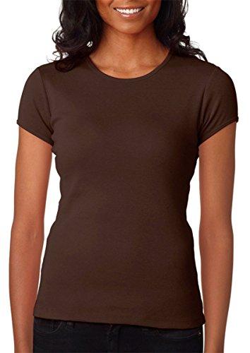 Bella + Canvas Ladies Stretch Rib Short-Sleeve T-Shirt, XL, Chocolate ()