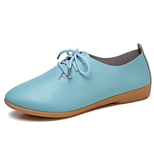 Panda Kelly Causal Shoes Flat Laces Slip On Leather Loafers Shoes For Women Sky Blue lPN2NNKR