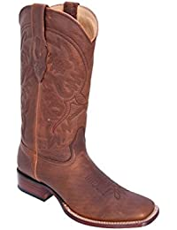 Men's Wide Square Toe Genuine Leather RAGE Design Western Boots - Exotic Skin Boots