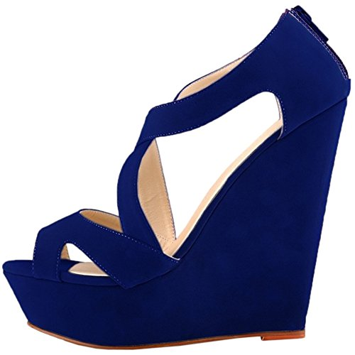 HooH Women's High Heel Wedge Platform Sandals Ankle Strap Pumps Blue d3NGE