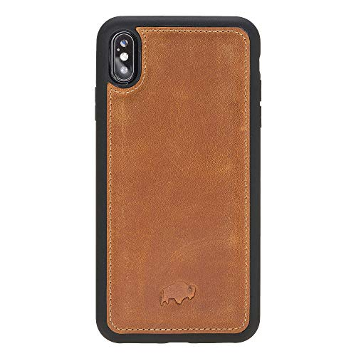 Burkley Case 360 Degree Snap-on Back Cover Case for Apple iPhone Xs MAX | Slim & Lightweight Flex Back Cover, Handcrafted from Full Grain Leather (Golden Brown)