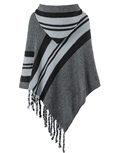 Ferand Women's Hooded Knit Striped Cape Poncho Sweater with Fringes, One Size, Grey by Ferand (Image #2)