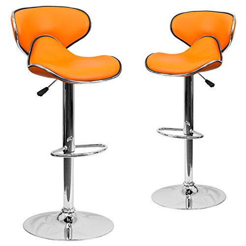 Flash Furniture 2 Pk. Contemporary Cozy Mid-Back Orange Vinyl Adjustable Height Barstool with Chrome Base