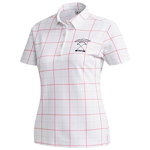 アディダス Adidas 半袖シャツ?ポロシャツ ストレッチ ADICROSS チェックプリント 半袖ポロシャツ レディス リアルピンク S