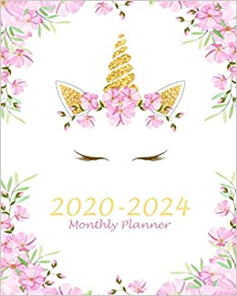 Monthly Planner 2020-2024: Pink Unicorn, 60 Months ...