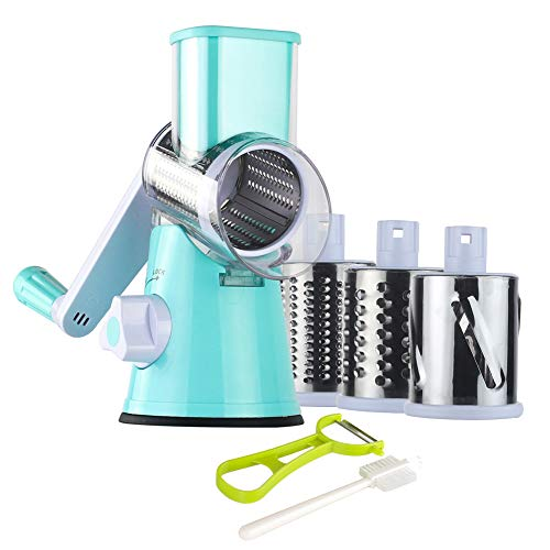 Ourokhome Round Mandoline Slicer Grinder – Rotary Cheese Grater for Walnuts, Vegetable, Potato (Blue)