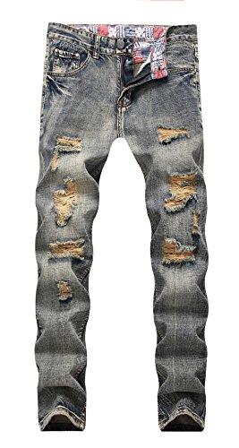 OKilr Pjik Men's Washed Grey Blue Stretch Distressed Slim Fit Ripped Denim Jeans
