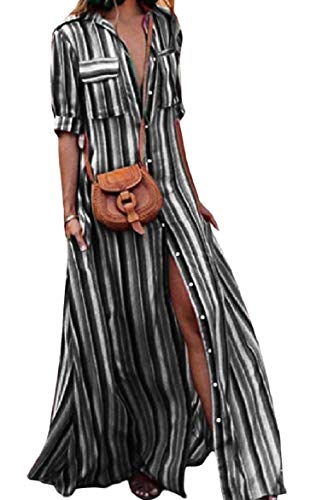 Striped Half Button Contrast Pocketed Sleeve Shirt Howme Black Lapel Women Dresses 5qCwTa0