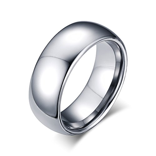 8mm Domed Tungsten Carbide Wedding Band Rings For Men Polished Beveled Edge Comfort Fit Size (Black Magic Titanium Tire)