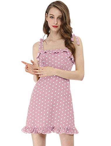 Allegra K Women's Polka Dot Spaghetti Strap Summer Ruffle Flare Mini Slip Dress L Pink ()