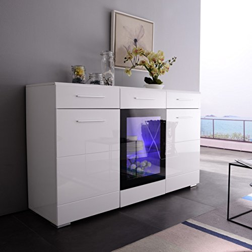 Mecor LED Sideboard Buffet Cabinet, Server Table Storage with 3 door/2 drawers,Kitchen Dining Room Furniture White