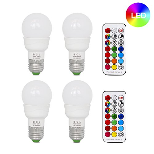BCL 3W LED Color Changing Light Bulb with IR Remote, RGB and Warm white, 3-way and memory function, 20W equivalent, fit for daily illumination and mood ambiance [4 pack]