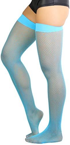 ToBeInStyle Women's Nylon Fishnet Thigh Highs - Neon Blue - One Size
