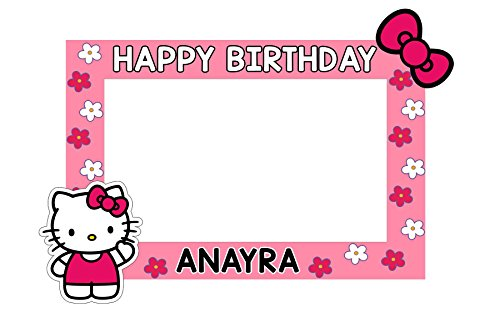 WoW Party Studio Personalized Hello Kitty Theme Birthday Party Selfie Photo Booth / Frame with Birthday Boy/Girl Name (3ft)