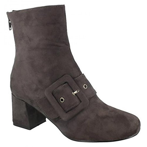 Ladies Spot On Womens Boots Blocked Gray Heel Ankle qwEFxU6w