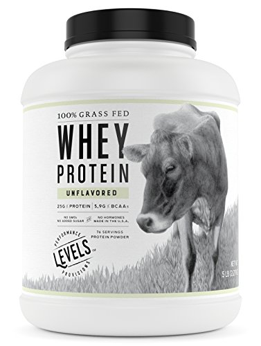 Levels 100% Grass Fed Whey Protein, No GMOs, Unflavored, 5LB (Best Undenatured Whey Protein)