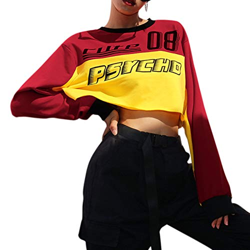Hoodies Rouge Pullovers Sweat Automne Pacthwork Lache shirt Surgir Nouvelle Mode shirts A Decontractee Femmes Longues Manches Toogoo Sweat S Veste SIpqF